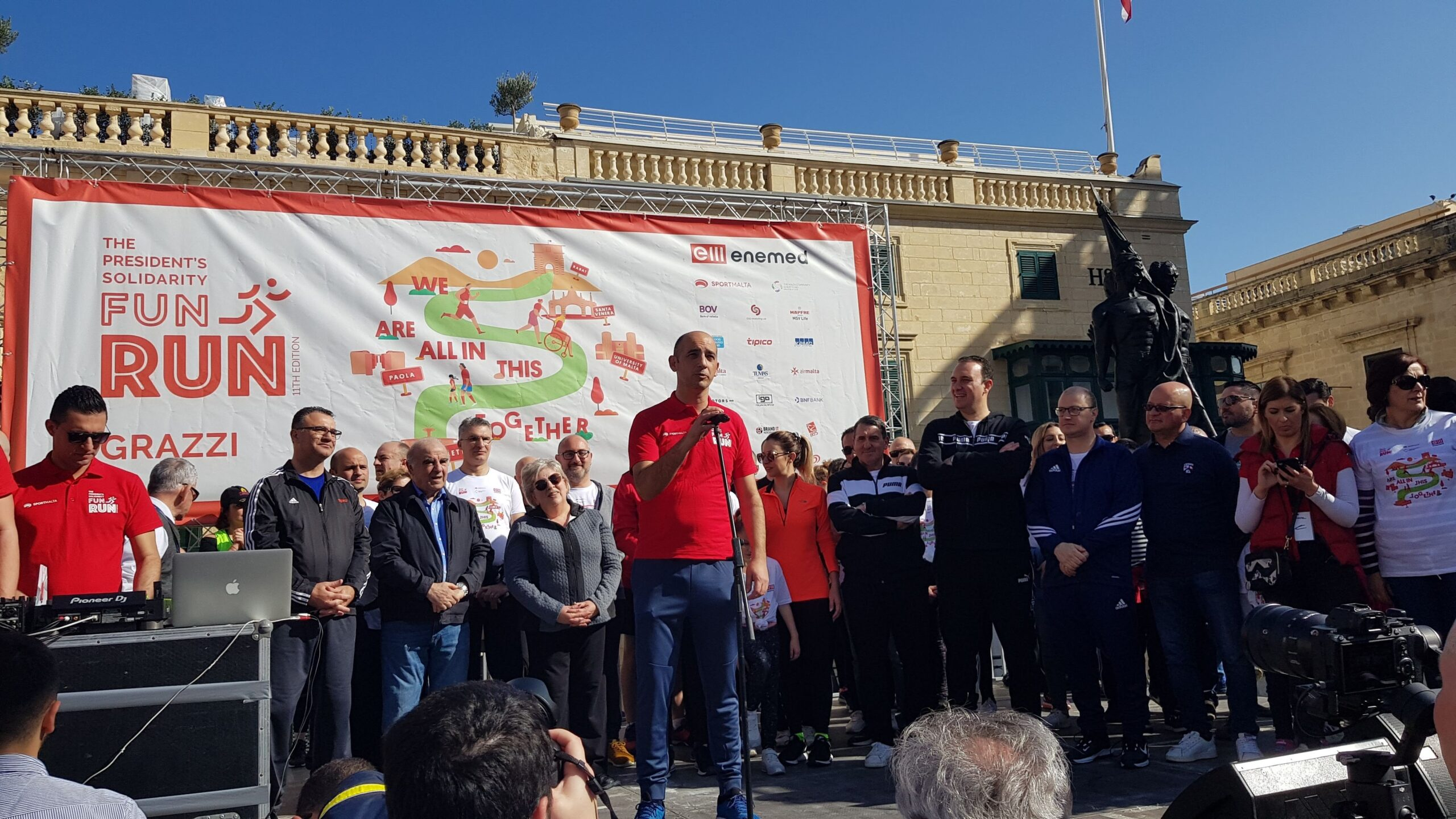 Sportmalta CEO Mark Cutajar addressing the participants of the President's Fun Run in St George's Square Valletta