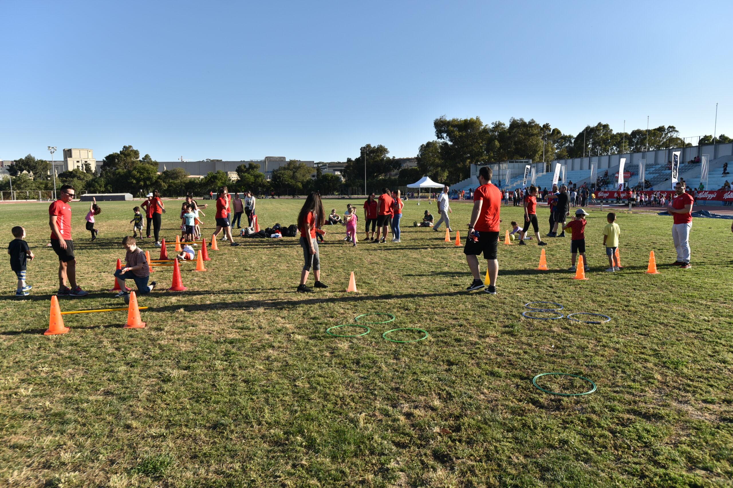 Children practicing different sports at Marsa Sports Ground