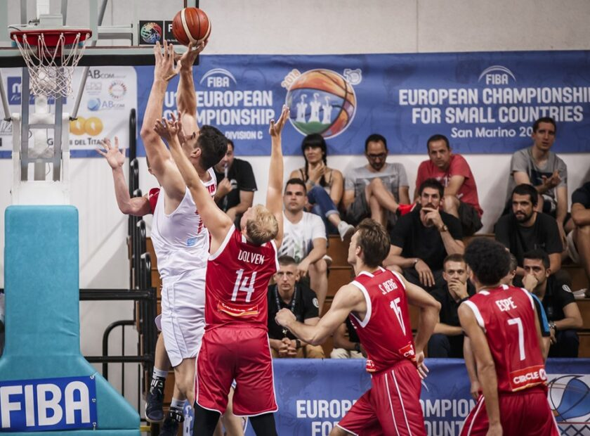 Basketball action from the National team of Malta in the European Championship for Small Countries